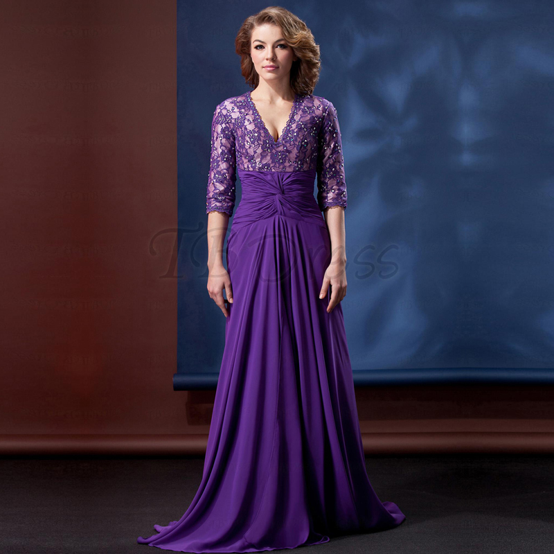 Gorgeous V-Neck Purple Sheer Half Sleeve Purple Mother Of The Bride Dresses 2017 For Wedding Lace Evening Party Gown Custom Made