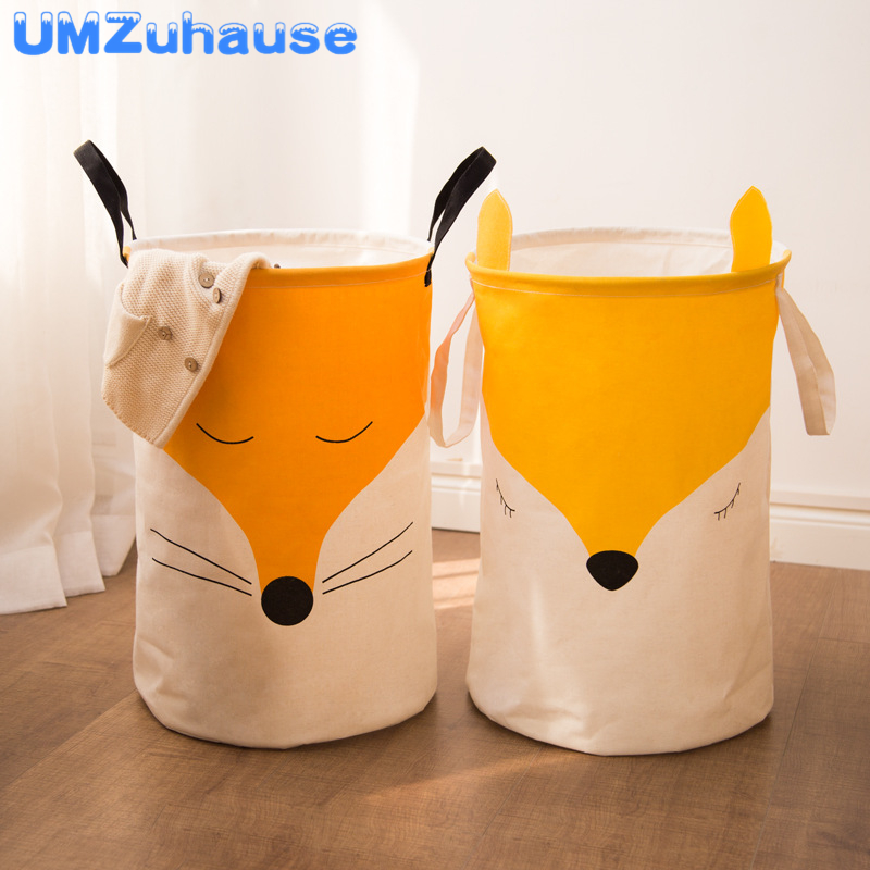 Cute Fox Dirty Laundry Clothes Basket Bins Organizers Clothing Toy Cartoon Animal Sundries Storage Bag Folding Home Organization
