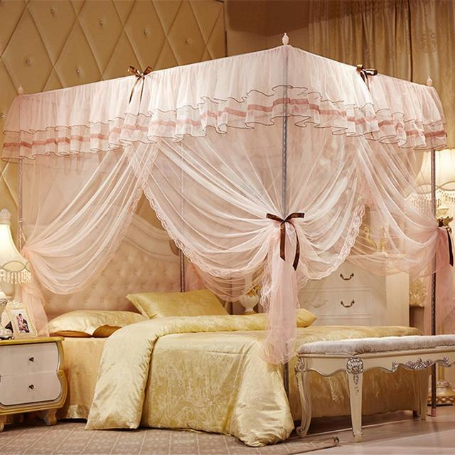 Pink Yellow Blue Three Door Princess Mosquito Net Double Bed Curtains Sleeping Curtain Canopy Full Queen King Size