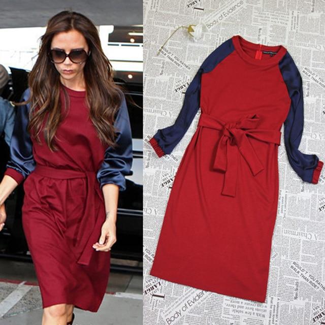Caliente! 2014 nueva moda primavera invierno talla grande túnicas Casual vestido de Victoria Beckham con una cremallera largo manga entrega gratuita