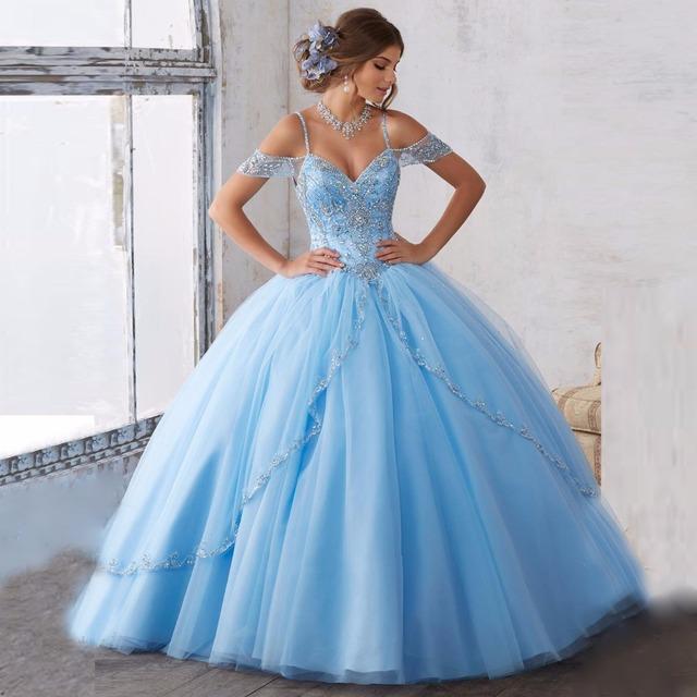2017 Nuevo Cielo Azul Tulle del vestido de Bola Vestidos de Quinceañera para 15 Años Con Cuentas Cristales Vestido de La Mascarada Vestidos de 15 Anos CR229
