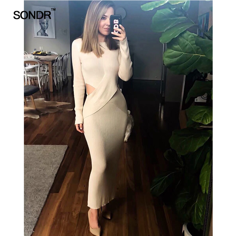 SONDR 2019 new spring cross dew waist cultivate one 39 s morality show thin knitting dress woman thin knitting dress commuter dress in Dresses from Women 39 s Clothing