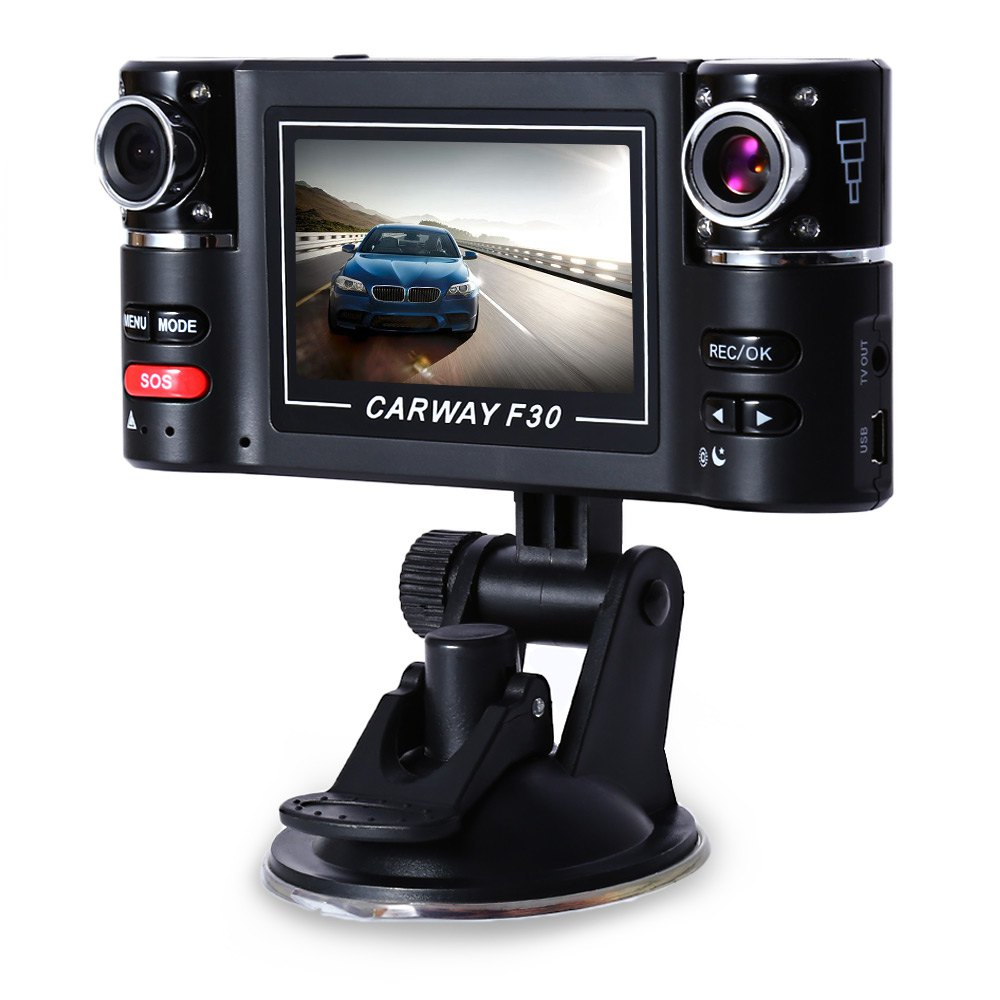 High Quality Adustable Dual Lens Wide View 180 Degree Auto Camcorder Car DVR Driving Recorder Car