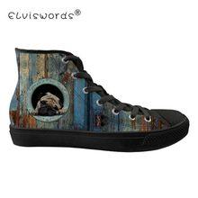 4c0b967d4 FORUDESIGNS Engraçado Cão Pug Impressão Mulheres Calçados Vulcanizados  Sapatos de Alta top sapatos de Lona Respirável