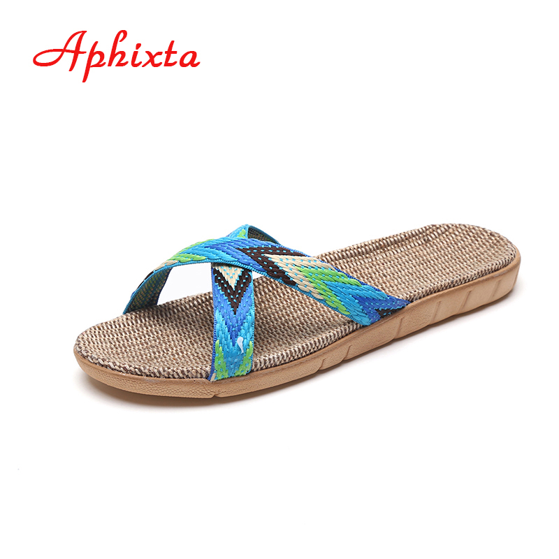 Aphixta New Flax Home Slippers Women Shoes Soft Indoor Slipper Antiskid Floor Shoes Swing Sweat Spring Summer Women Home Shoes vanled 2017 new fashion spring summer autumn 5 colors home plush slippers women indoor floor flat shoes free shipping