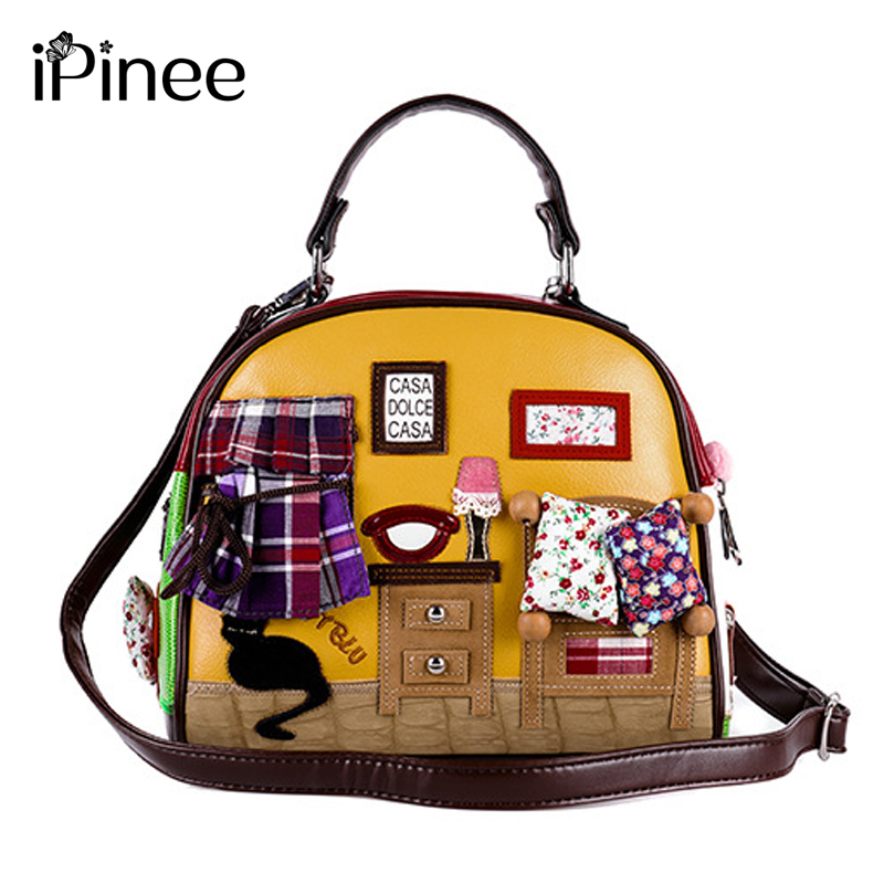 iPinee Fashion Women Shoulder Bag Italy Braccialini <font><b>Handbag</b></font> Style Retro Handmade Stylish Woman Messenger Bags