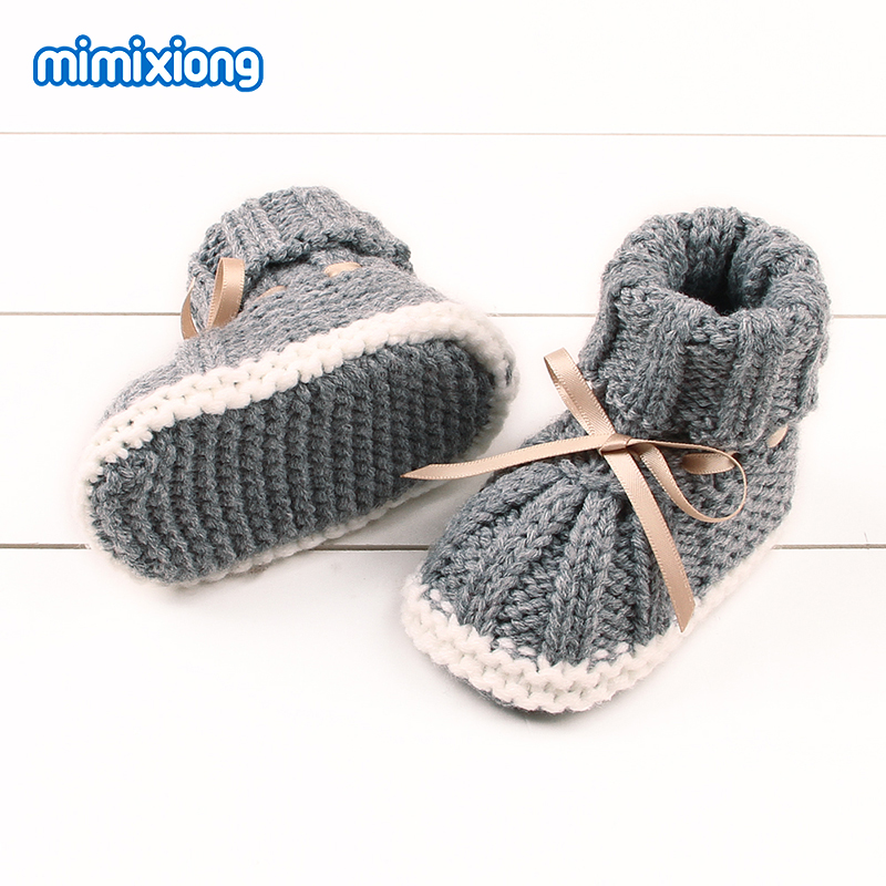 Newborn Baby Girl Bowknot Winter Warm First Walkers Autumn Infant Toddler Crochet Prewalker Boots Soft Sole Boy Shoes Cute 0-24M