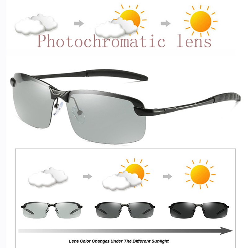 Brand Photochromic Sunglasses Mens Transition Lens Driving