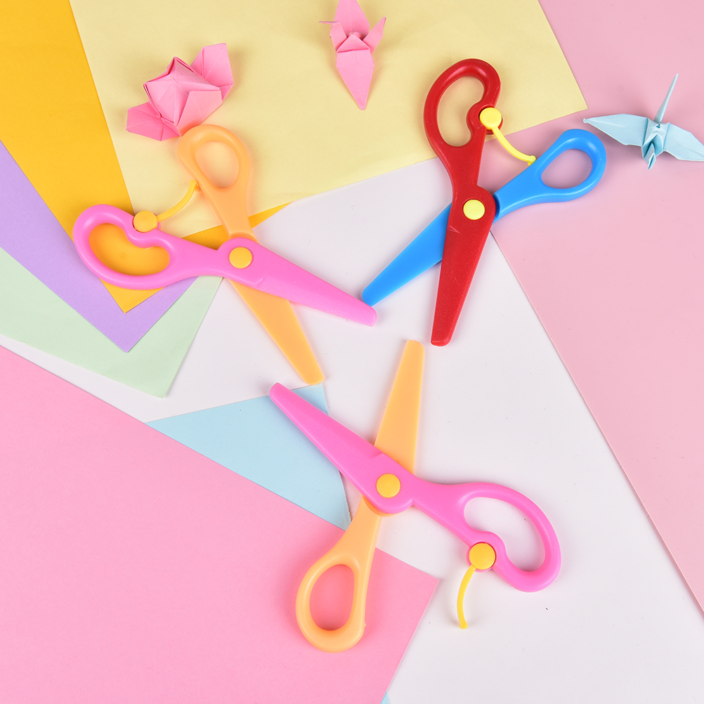 1 Pcs DIY Safety Round Head Plastic Mini Scissors Student Kids Paper Cutting Minions Supplies For Kindergarten School