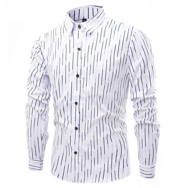 2017 New Spring Fashion Brand Men Clothes Solid Color Slim Fit Men Long Sleeve Shirt Men Business Casual Men Shirt Social  Size