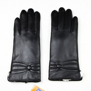 Image 2 - Sheepskin leather gloves womens thick winter warm white rabbit fur lining new ladies touch screen gloves