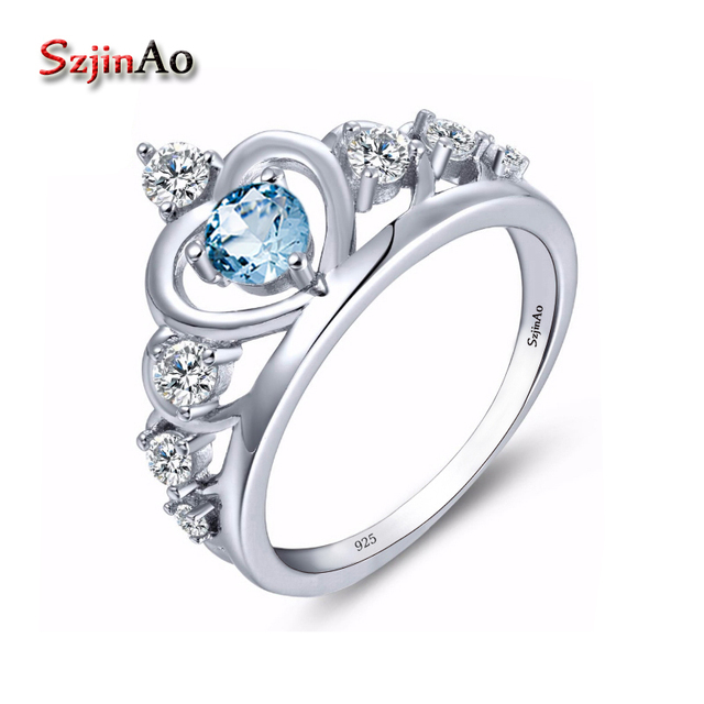 Szjinao Genuine 925 Sterling Silver Crown Wedding Rings For Women