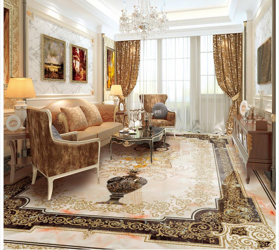 3d flooring European vase marble flooring 3d bathroom wallpaper waterproof 3d floor painting wallpaper