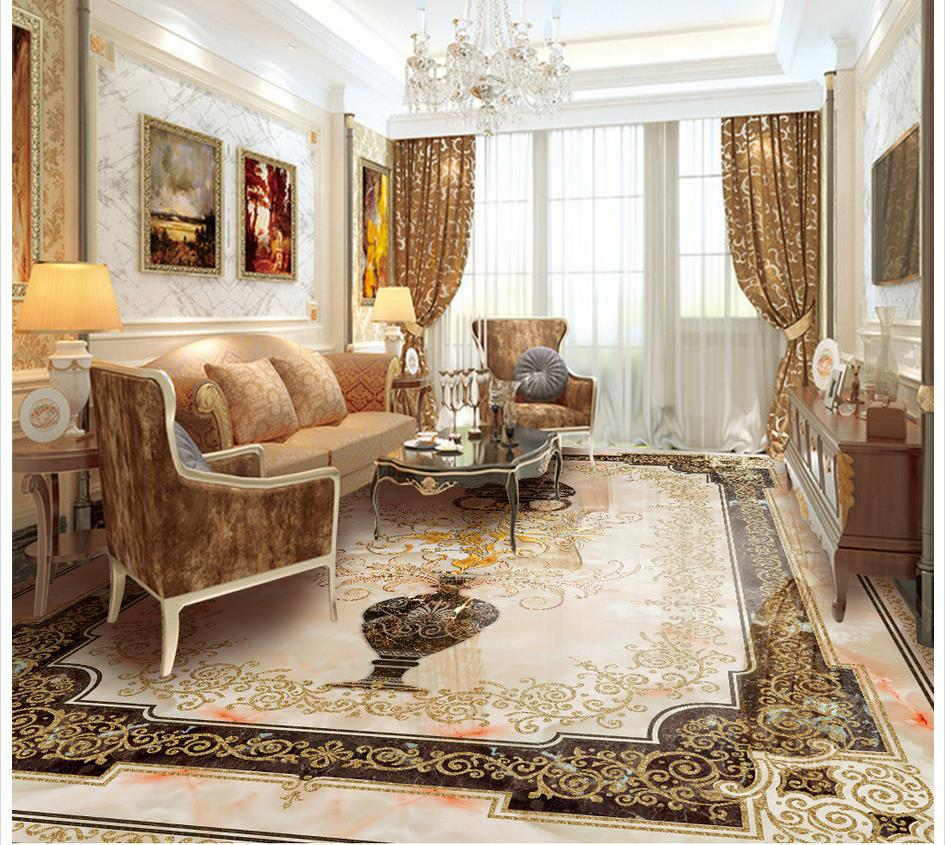 3d flooring European vase marble flooring 3d bathroom wallpaper waterproof 3d floor painting wallpaper