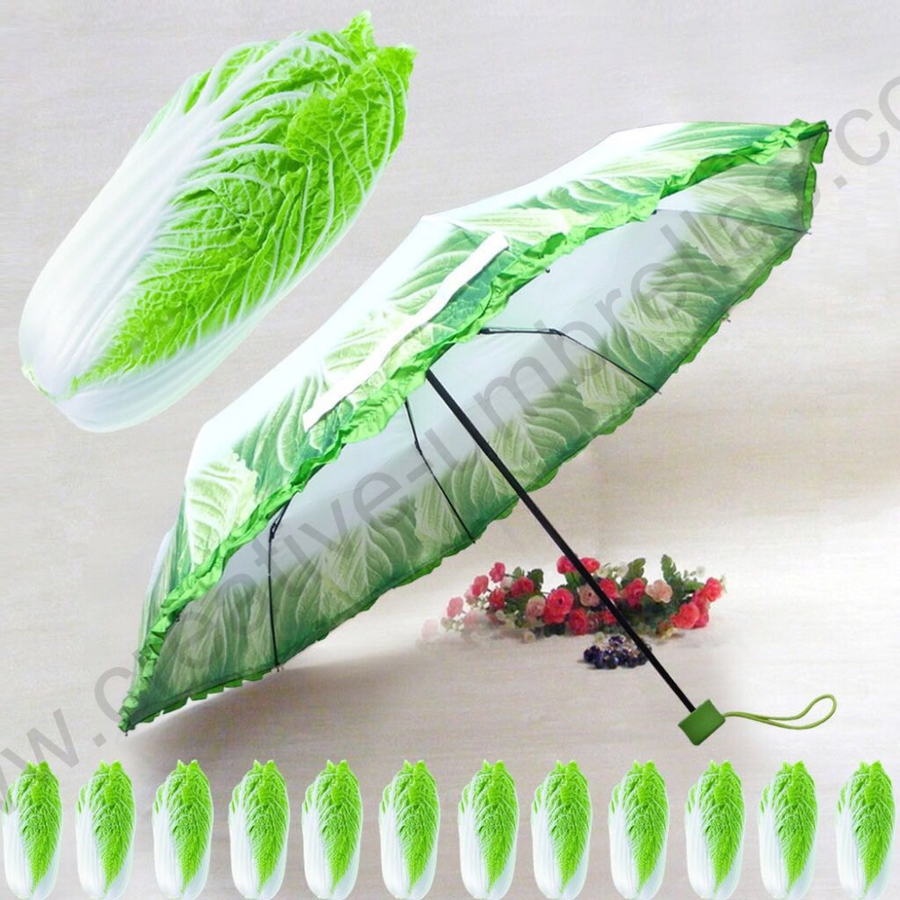 Three fold super light anti-rust imitation cabbage vegetable pencil umbrella compact windproof fiberglass gift parasol