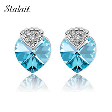 float heart std  Gold Color Austrian Element Crystal Heart Strawberry stud Earrings Fashion crystal Jewelry 84120