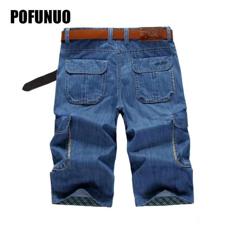 Summer Mens Retro Cargo Denim Shorts Vintage Acid Washed Faded Multi-Pockets Military Style Biker Short Jeans For Men Size 30-44