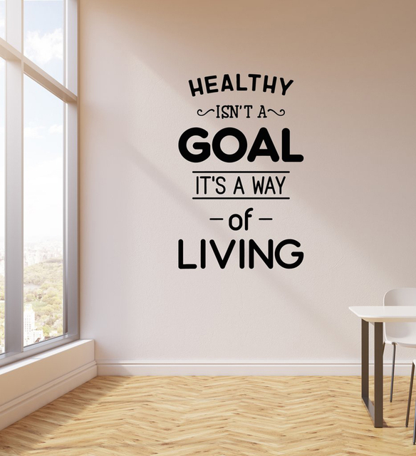 Healthy Lifestyle Living Quote Wall Sticker Decal Living Room Home