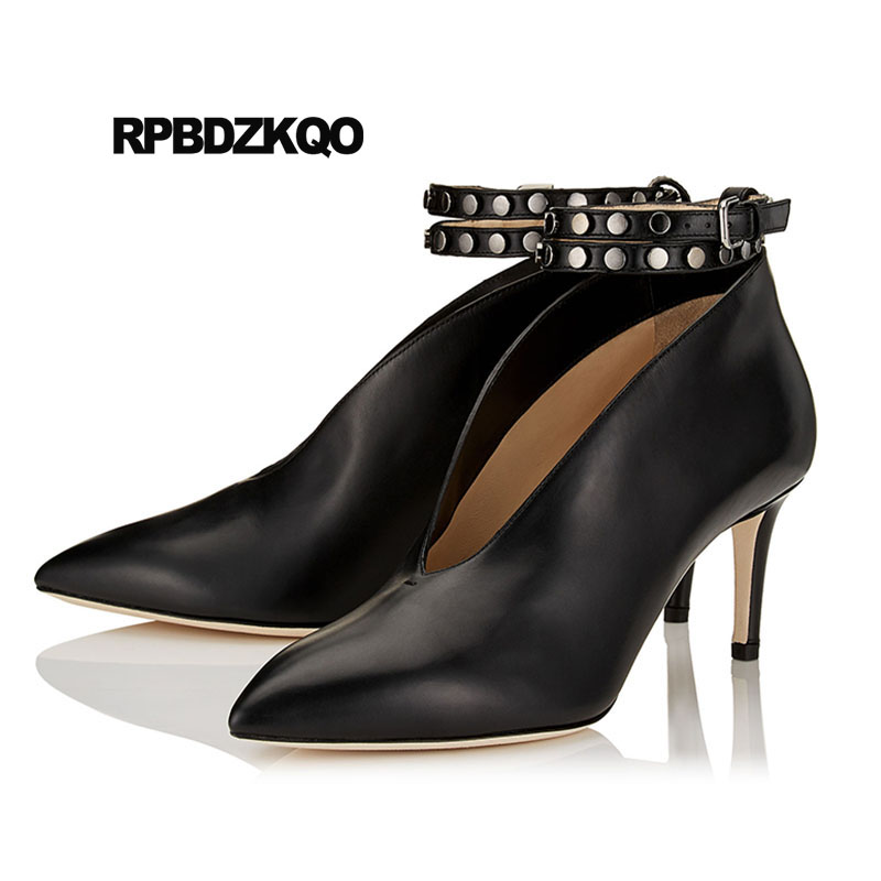 5344320bf2cc Shoes Wine Red Metal Ankle Strap Winkle Picker Navy Blue Pumps Italian  Rivet Brand High Heels Scarpin Pointed Toe Size 4 34 Stud