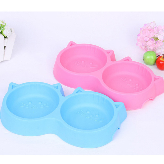 Pet Products Plastic Cat Face Pet Bowl Environmental Protection Non-toxic Dog Food Double Bowl Tableware Pet FeedingTool YL4