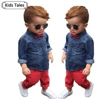 ST245 2016 Spring Children S Clothing Set Baby Boys Clothes Cotton Long Sleeve Shirts Denim Pants