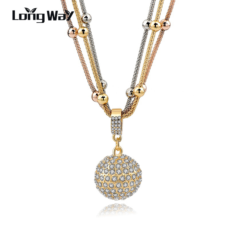 LongWay 2017 Hot Sale Women Long Necklace Gold Color Chain Necklace Full Rhinestone Ball Pendant Necklace SNE140451