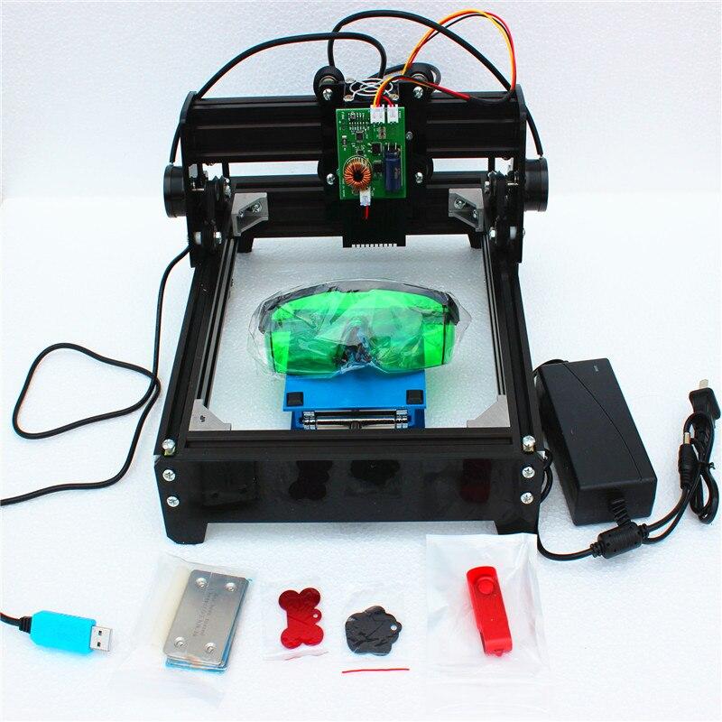 Machine en métal de machine de gravure de laser de puissance élevée de 15 W, machine de marquage de laser de module de laser de 15 W CNC mini laser de bricolage