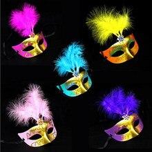 Niños partido máscara de plumas sombrero de la historieta misteriosa  princesa niños maquillaje partido Cosplay niñas Juguetes 76cf7f8535d