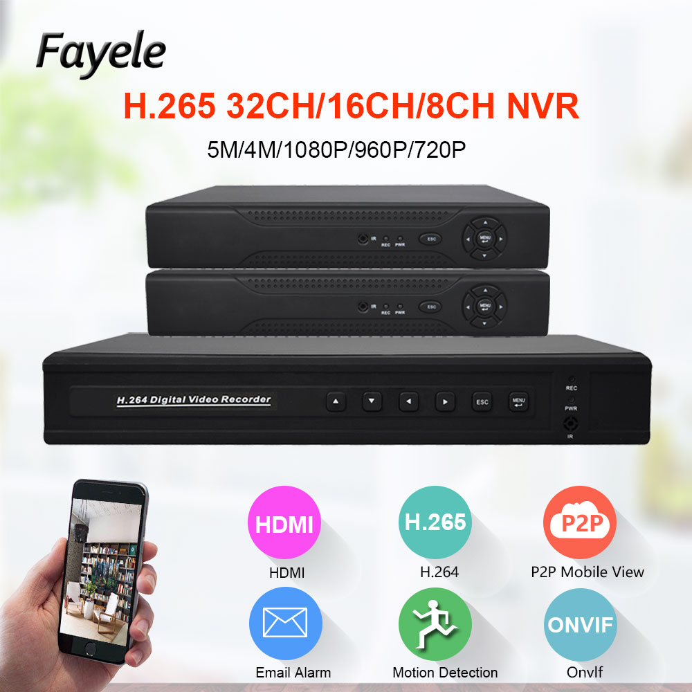H.265 Säkerhet 8CH 16CH HD IP 1080P 5MP 4MP NVR 1.2U 2 SATA-port Hi3535 Processor 3G WIFI 32CH Surveillance Video Recorder Onvif