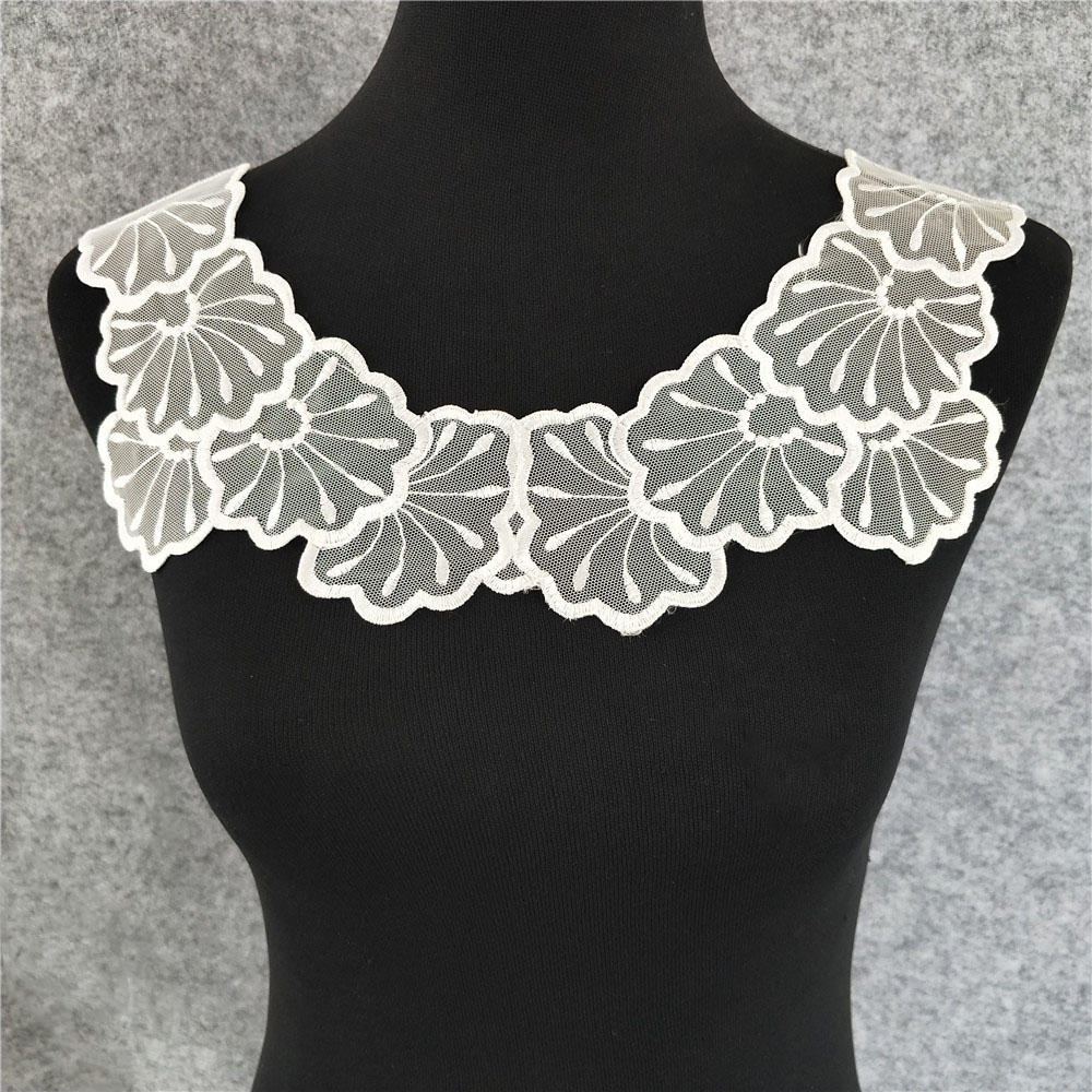Arts,crafts & Sewing Cheap Price White/black Guipure Flower Lace Fabrics Embroidery Lace Collar Diy Wedding Dress Accessories Tulle Neckline For Sewing Garment Attractive Fashion