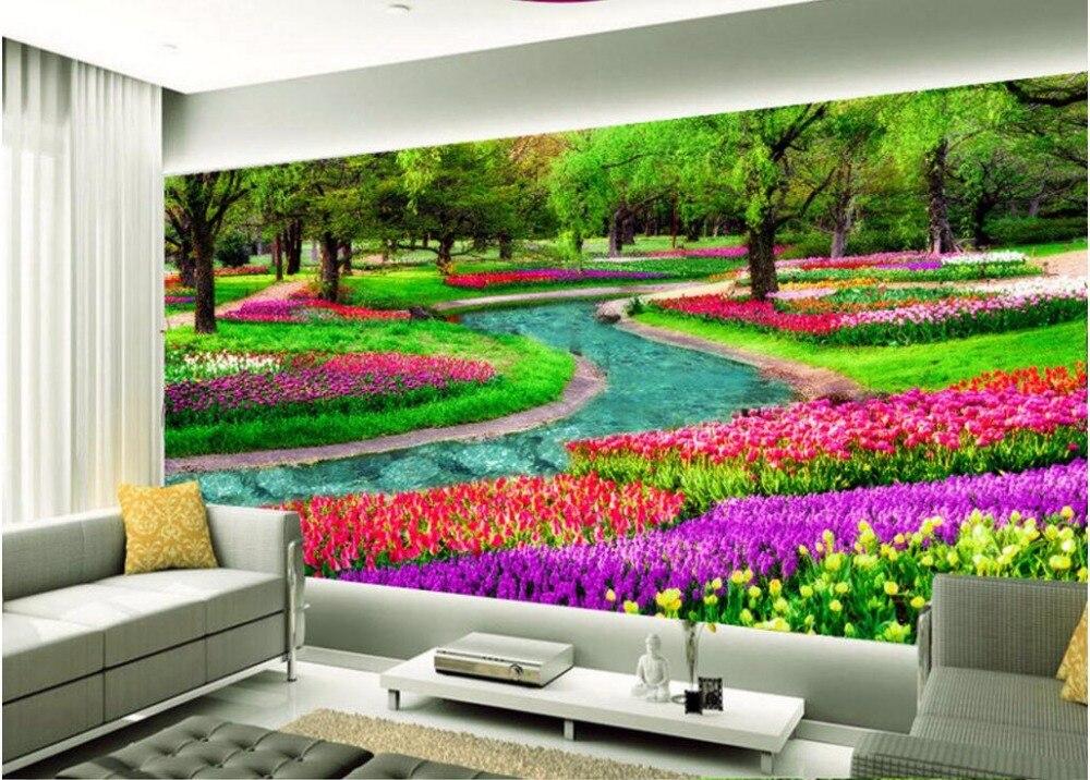 Custom photo 3d behang romantische bos bloemen en tuin kamer