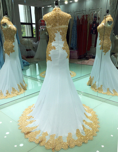 Image 2 - Elegant Gold Embroidery Muslim Evening Dresses Long 2020 Mermaid High Neck Beads Crystal White Women Formal Party Prom Gowns