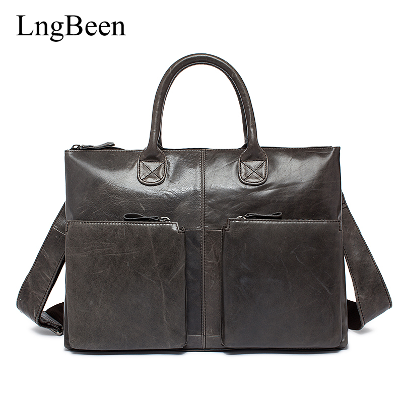 Lngbeen New Genuine Leather Coffee Men Briefcase Laptop Business Bag Cowhide Men's Messenger Bags Luxury Lawyer Handbags LB502 купить