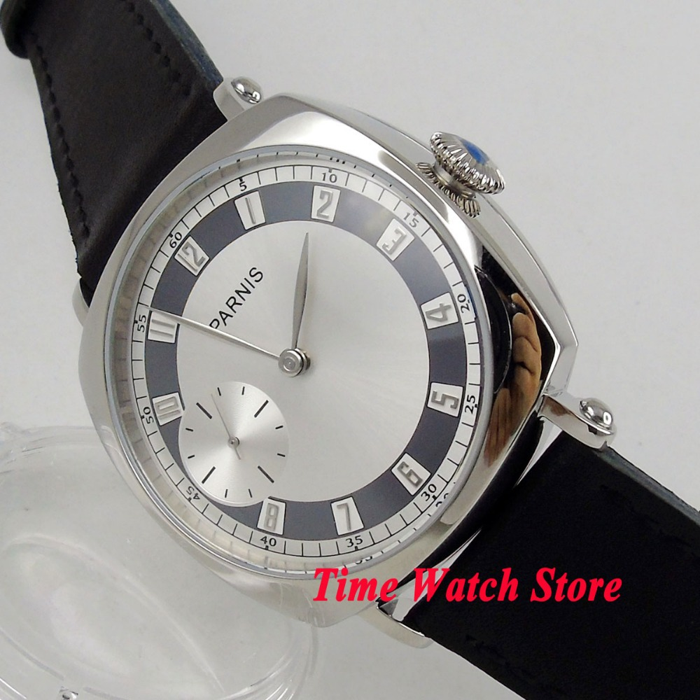 <b>Luxury parnis 44mm</b> polished men s watch silver dial leather strap ...