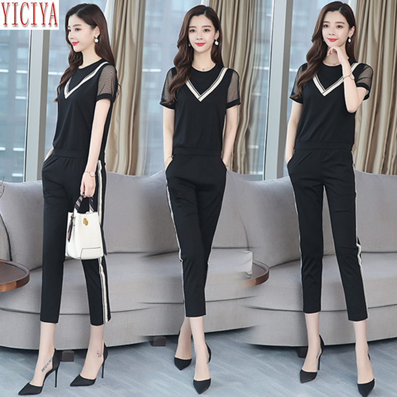 Suit Female Trouser with Stripes 2019 New Summer Fashion Women 39 s Sets 2 Piece Matching Set Outfits Pant and Top Black Clothing in Women 39 s Sets from Women 39 s Clothing