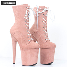 jialuowei 2019 New 8 Super High Spike Heel Platform Boots Suede Lace-up Round-toe Women Party Dance Clubwear 20CM