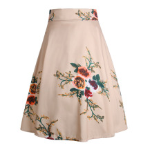 Summer Women Skirts Chiffon Print Floral Empire Elastic Casual Women Skirt Vadim Vintage Elegant Bodycon Floral Print Midi Skirt