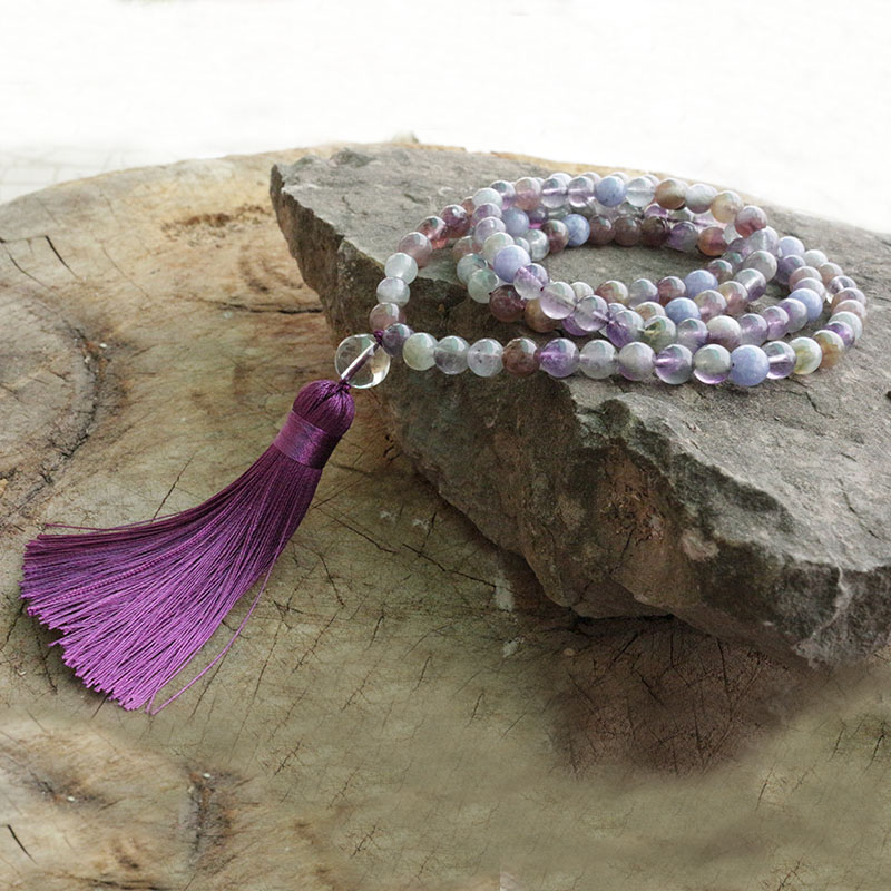 8mm Amethyst And Aquamarine Mala Beads Necklace, Calm An Active Mind Mala, 108 Bead Mala, Mala Jewelry, Yoga Lovers Jewelry