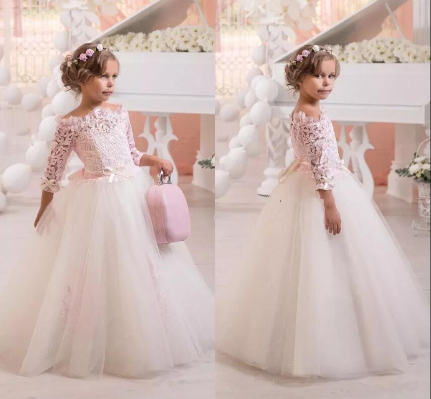 Off Shoulder White 2018 Flower Girl Dresses Lace Applique Long Sleeve Girls First Communion Gown Custom Any Size fashionable lace long sleeve off the shoulder see through blouse for women