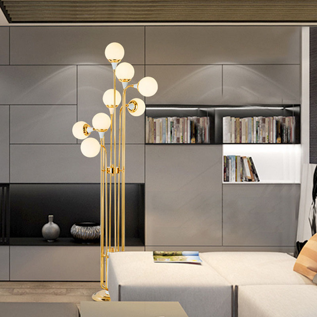 Nordic creative fashion simple long glass ball bedroom study hotel room warm and fresh floor lamp LED lighting fixture led lamps