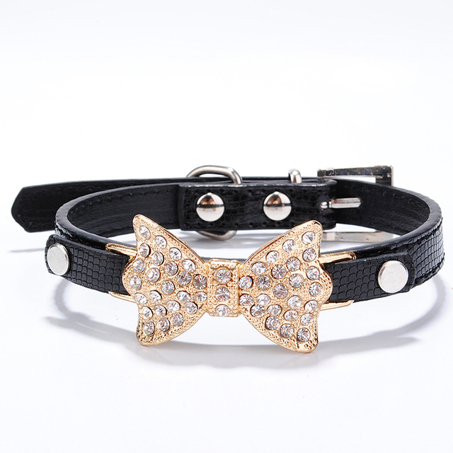 Cute Bow and Crystalls Decorated Collar for Small Dogs