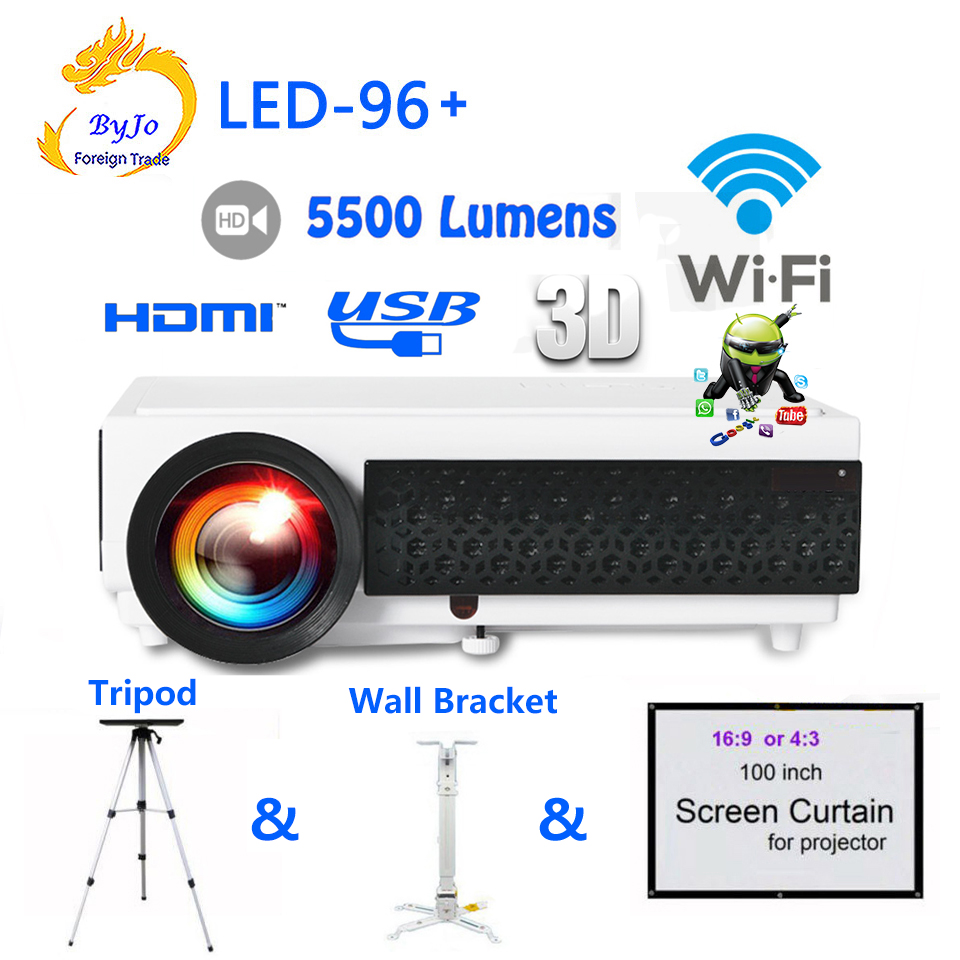 LED96+ wifi LED Android 3D Projector 5500 lumens Video Full HDMI USB 1080p Video Multi screen Home theater projector bt96 3d projector 1024 768 native resolution 3600ansi lumens short focus projector 1m distance have 80inch screen 3d glass free gift
