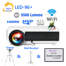 LED96 wifi LED Android 3D Projector 5500 lumens Video Full HDMI USB 1080p Video Multi screen
