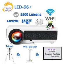 Poner saund светодиодный 96 + wifi светодиодный Android 3D проектор 5500 люмен видео Full HDMI 1080 p видео мульти экран домашний кинотеатр проектор bt96