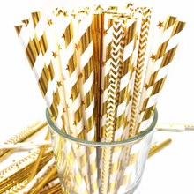25pcs Striped Gold Silver Paper Drinking Wedding Straws Birthday Kids Baby Shower Decoration DIY Party Supplies