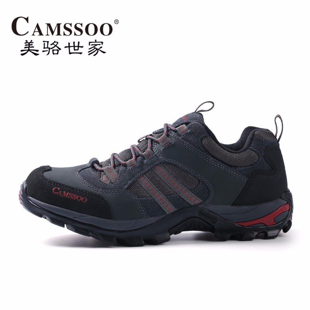 CAMSSOO Men's Leather Sports Outdoor Hiking Trekking Shoes Sneakers For Men Sport Wearable Climbing Mountain Shoes Mans Footwear купить