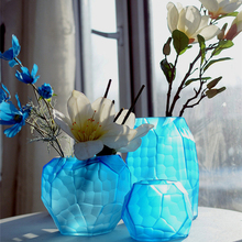 European style glass vase Coloured Manual grinding carved Tabletop Flower Geometric wedding vases  home decoration Modern