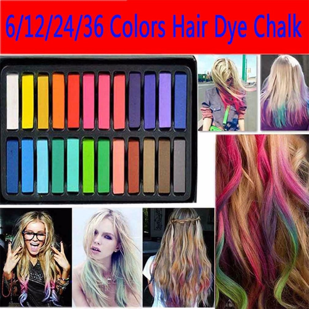 6/12/24/36 Colors Non-toxic Soft Hair Crayons Pastel Kit Temporary Hair Color Chalk Dye Beauty for DIY Hair Care Styling Tool