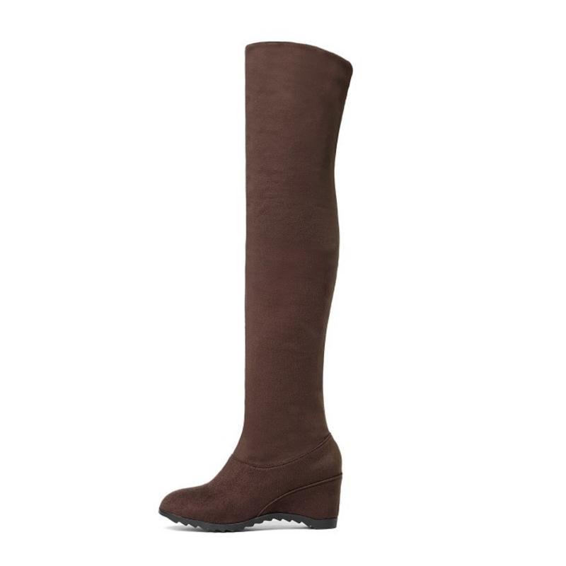 Sur Hiver Stretch Des 43 Zipper Taille Chaussures Bottes Noir Genou 34 Bout Mode Misakinsa Rond marron Coin Au Pour Chaud Femmes P0F5wxnqZ