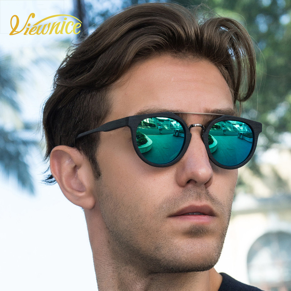 b3fbdf1ebd New Gafas de sol Hombre vintage Fashion Sunglasses Polarized couple Round  Polaroid wooden Eyeswear oculos de sol feminino Male -in Sunglasses from  Women s ...